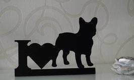 Schriftzug oder Teelichthalter I Love Bulldog