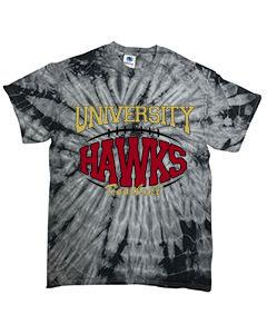 Black Tie-Dye University Hawks Football Short-Sleeved Tee