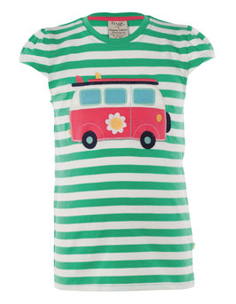Frugi T-Shirt Camper-Bus Mädchen grün