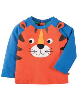 Frugi LA Shirt Tiger orange/blau mit Öhrchen