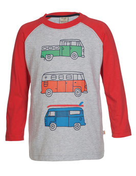 Frugi LA Shirt Camper/Bus  grau/rot