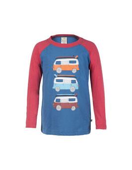 Frugi LA Shirt Campingbusse  Druck blau/dunkel-rot