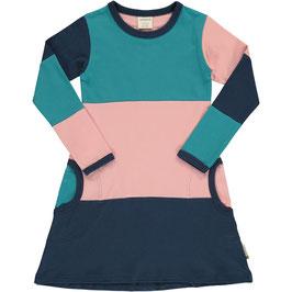Maxomorra LA Kleid Streifen blau/rosa/petrol