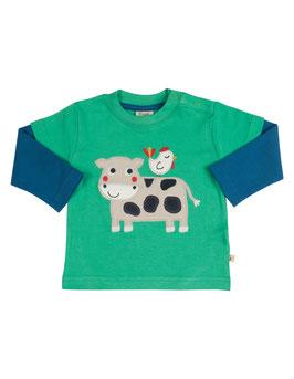 Frugi LA Shirt Kuh grün/blau