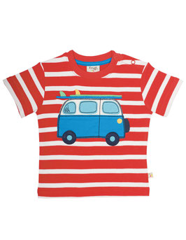 Frugi T-Shirt Camper-Bus  Streifen rot