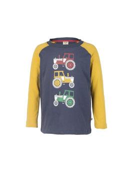 Frugi LA Shirt Traktoren Druck dunkel-blau/senf