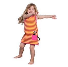 Lipfish Kleid Affe pink/gelb gestreift
