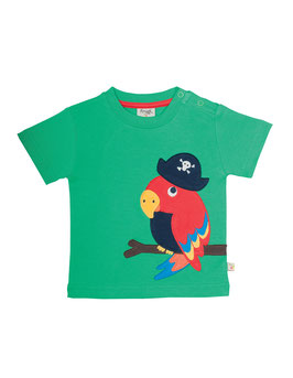 Frugi T-Shirt Piraten-Papagei grün