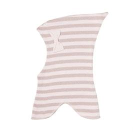 Racing Kids Schalmütze mit Zipfel  Baumwolle doppellagig  rosa geringelt mit gold Schimmer und Schleife NR.20 L 4-6 Jahre