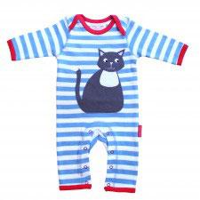 Toby Tiger Strampler Katze Streifen blau/weiß