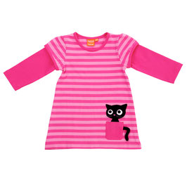 Lipfish LA Kleid, cat in pocket cerise/pink gestreift