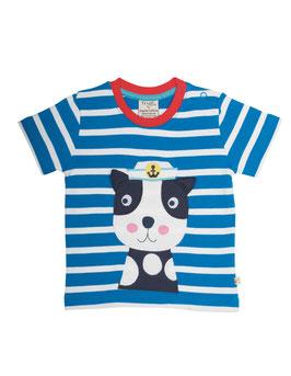Frugi T-Shirt Hund blau gestreift