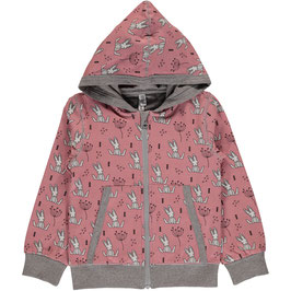 Maxomorra Sweat Jacke sweet Bunny rose´