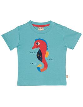 Frugi T-Shirt Seepferd uni hellblau