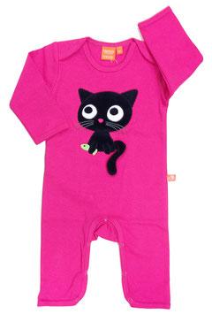 "Lipfish Jumpsuit, LA  Motiv ""cat"" Farbe ""cerise"""