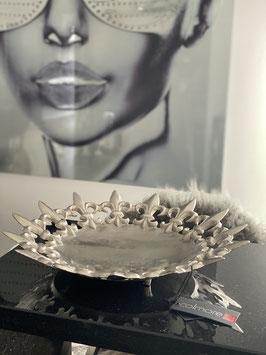 Colmore Lilien Platte /Tablett / 42x42x8cm Alu Raw Ni
