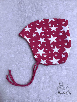 """Baby Zipfelmütze """" Sterne pink / gepunktet"""" Einzelstück KU 42-44"""