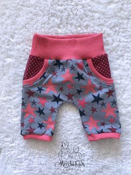 """Baby 3/4 Summer Pants """"Sterne lachs"""" Einzelstück Größe 62/68"""