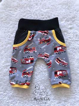 """Baby 3/4 Summer Pants """"Feuerwehr grau"""" Einzelstück Größe 74/80"""