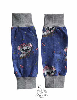 """Beinstulpen Mädchen Accessoires """" Koala blau """" Größen 1-3 Jahre / 3-7 Jahre"""