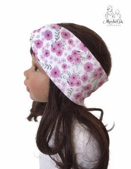 """Stirnband Haarband """" lila Blüten auf weiß """""""