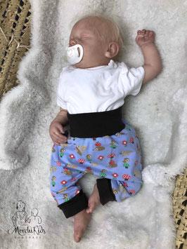"Baby Newborn Baggy Pants Hose "" Tiere mit Pilzen"" Größe 56"