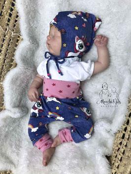 """2-teiliges Baby Set Zipfelmütze mit Baggy Pants Hose """" Einhorn Sterne / ocker Herzen """" Größe 62"""