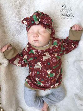 """2-teiliges Babygirl Newborn Set Langarmshirt mit Turbanmütze """" Weihnachten Rentiere """" Größe 56 62 68"""