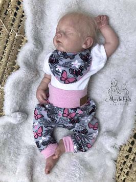 """2- teiliges Baby Set Baggy Pants Pumphose mit Halstuch """" Schmetterlinge """" Einzelstück Größe 56/62/68"""