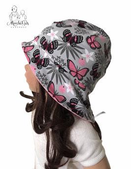 """Sonnenhut mit Nackenschutz """" Schmetterlinge rosa grau """""""