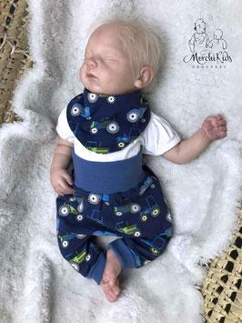 """Newborn 2-teiliges Baby Set Baggy Pants Hose mit Halstuch """" Traktor / Sterne grün """" Größe 56/62/68"""