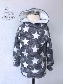 """Winter Hoodie/Kapuzenpullover Alpenfleece """" Sterne schwarz """" Einzelstück Größe 110"""