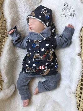 """2-teiliges Baby Set Hoodie / Kapuzenpullover mit Baggy Pants Hose """" Wikinger / grau meliert """" Größe 62"""