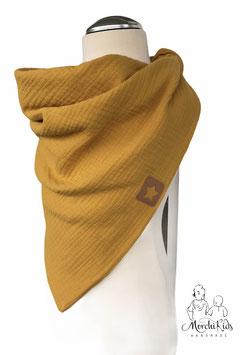 """Musselin Halstuch Dreieckstuch """" Ocker gelb mit Stern Applikation """" für Kinder ab 2 Jahre ca. 70 x 110 cm"""