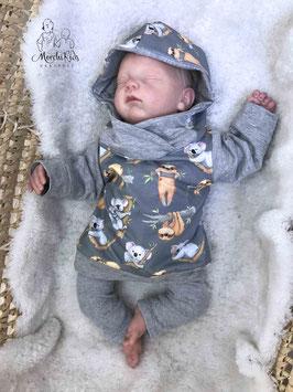 """Baby Hoodie Kapuzenpullover """" Faultier grau  """" Einzelstück Größe 62"""