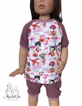 "Musselin 2-teiliges Sommerset T-Shirt mit kurzer Baggy Pants Hose "" Marienkäfer Mädchen "" Größe 104"