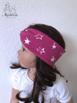 """Stirnband Haarband """"Sterne pink"""" Einzelstück KU 49-52 Höhe 7 cm"""