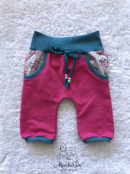 "Baby 3/4 Summer Pants ""uni pink Rosen"" Einzelstück 74/80"