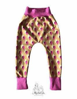 """Softshell Outdoor Matsch & Regenhose Baggy Pants Pumphose """" Tropfen gelb/pink """" Einzelstück Gr. 104"""