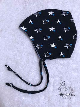 """Baby Winter Zipfelmütze gefüttert """" Sterne blau"""" KU 44-46"""