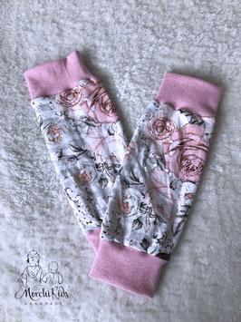 """Beinstulpen """" Rosen rosa """" - Einzelstück Größe 3-7 Jahre"""