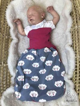 """Baby Newborn Strampelsack/Pucksack Winter gefüttert """" Wolken / Pinke Punkte """" Einzelstück/Unikat Größe 0-68 ( 0-6 Monate )"""