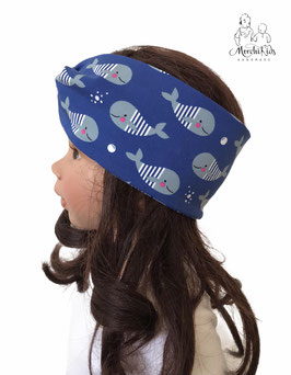 "Stirnband Haarband "" Maritim Wale blau """