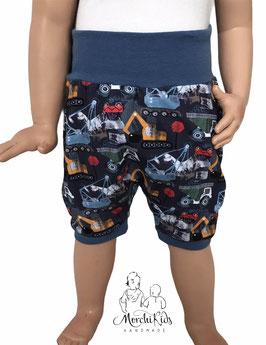 "Kurze Hose Baggy Pants "" Baustellenautos blau """