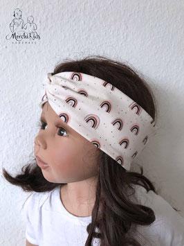 """Haarband Stirnband """" Regenbogen creme """" KU 50-52 / Höhe 7 cm"""