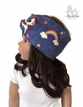 """Stirnband Haarband """" Einhorn mit Regenbogen """""""