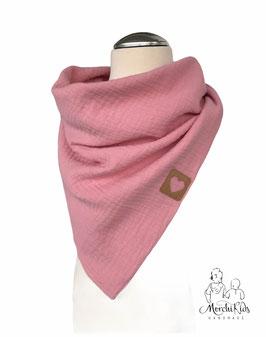 """Musselin Halstuch Dreickstuch """" rosa mit Herz Applikation """" für Kinder ab 2 Jahre ca. 70 x 115 cm"""