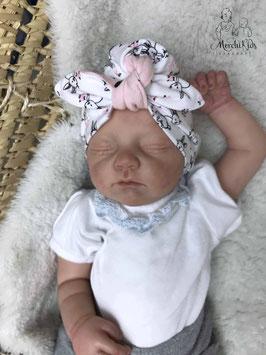 """Baby Newborn Turban Mütze mit Schleife """" Hasen weiß """" Kopfumfang 35-37"""