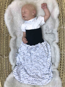 """Baby Newborn Strampelsack / Pucksack doppellagig wendbar Frühjahr Übergangszeit """" Autos / Eisbären """" ca. 0-6 Monate"""