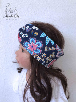 """Stirnband Haarband """" bunte Blumen """" Einzelstück KU 51-53"""